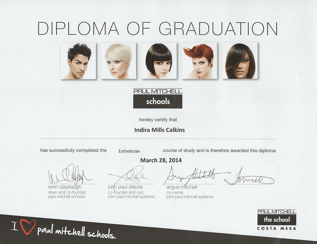 Paul Mitchell Esthetician School Diploma of Graduation