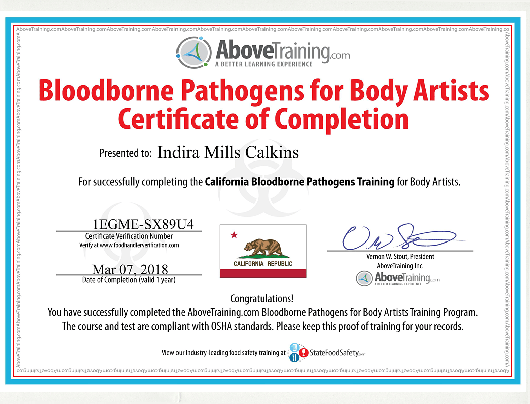Permanent Makeup, Microblading Bloodborne Pathogens For Body Artists Completion Certificate