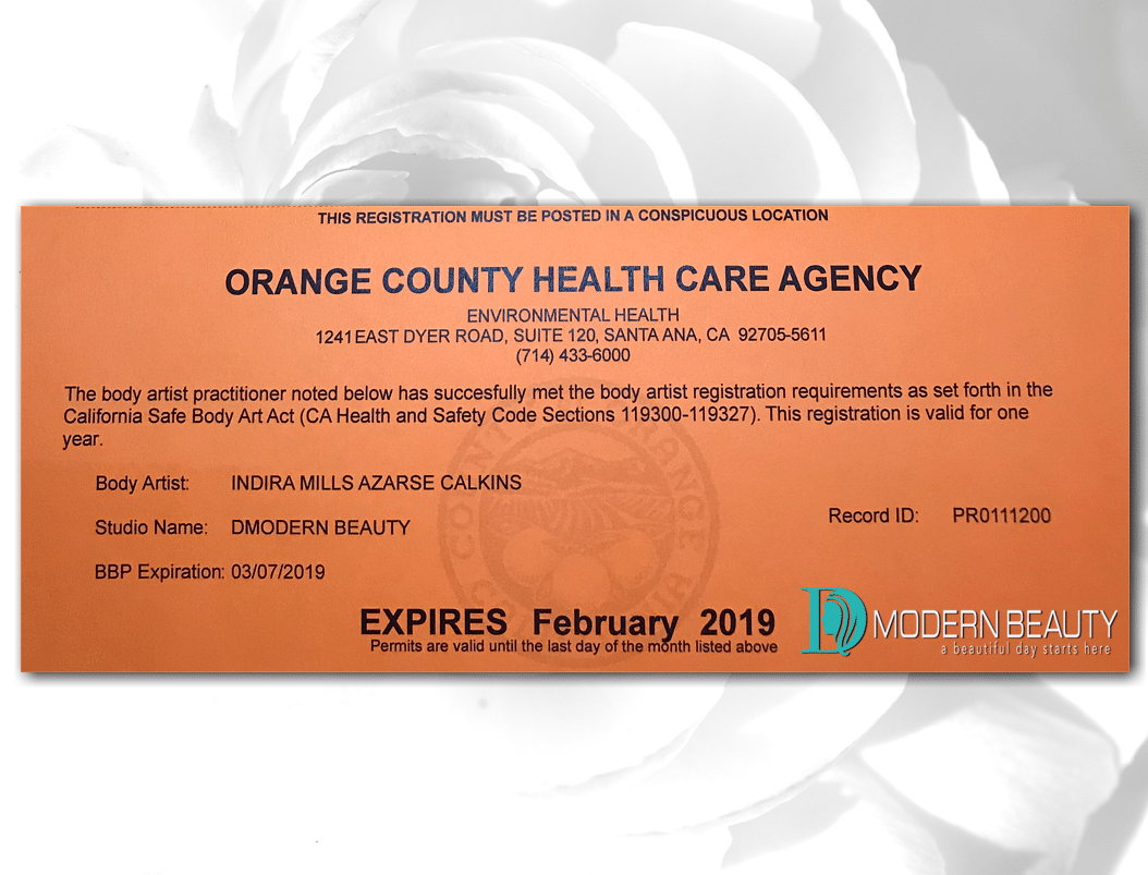 Orange County Health Care Agency Body Artist Registered