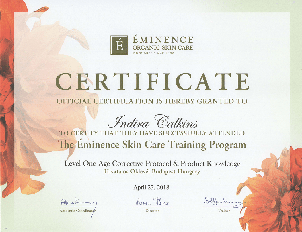 Advanced Eminence Skin Care Training Certificate