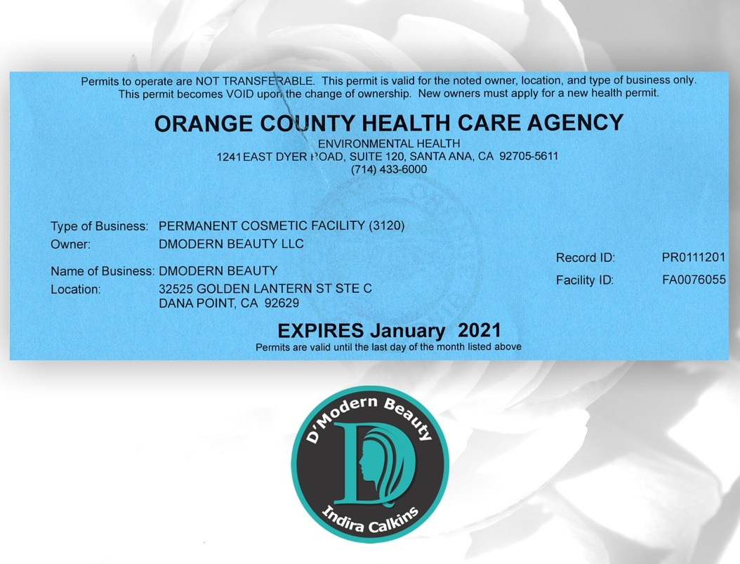 Orange County Health Care Agency Body Artist Registered 2020