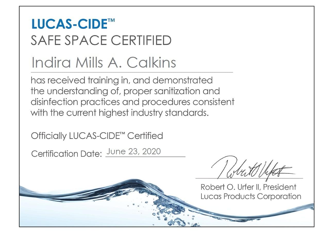COVID-19 LUCAS CIDE Certificate 2020 D'Modern Beauty