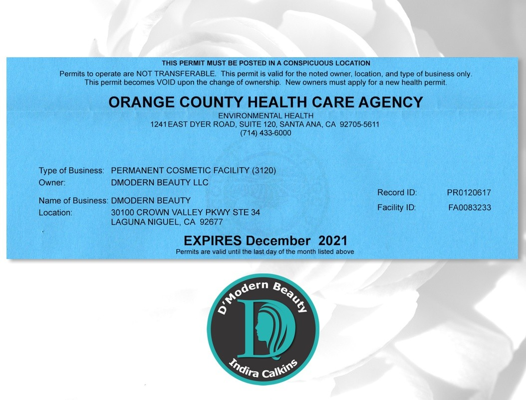 DModern Beauty Orange County Health Department Body Artist Registered 2021